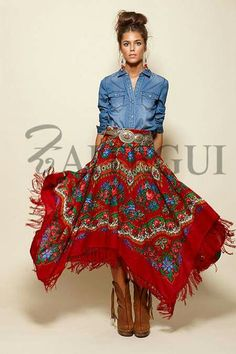 Zaitegui WOW!! - HER OUTFIT IS SIMPLY STUNNING!! - HER DENIM SHIRT LOOKS AWESOME, WITH HER INCREDIBLY BEAUTIFUL, FULL CIRCLE SKIRT!! - SO BEAUTIFUL!!