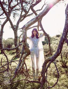 Zuzana Gregorova wears a Miu Miu dress with ruffle embellishment for GQ Portugal Magazine March 2016 issue