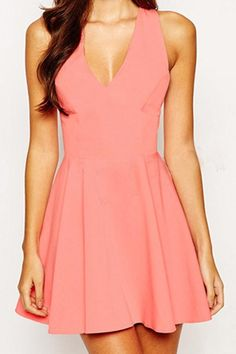 Solid Color Backless Plunging Neck Dress
