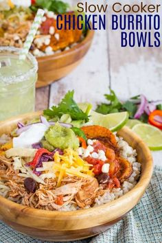 Slow Cooker Chicken Burrito Bowls - are a fun and easy flexible dinner recipe for the entire family. Make the easy shredded Mexican chicken in your crockpot, pile it on a bowl of rice or cauliflower rice, then add your favorite toppings, especially the @cabotcheese! Naturally gluten free and easy to make keto too! (Sponsored post) Mexican Chicken And Rice, Chicken Rice Bowls, Chicken Burrito Bowl, Burrito Bowls, Chicken Burritos, Slow Cooker Huhn, Slow Cooker Chicken, Gluten Free Recipes For Dinner, Dinner Recipes
