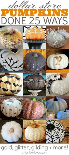 25 Dollar Store Pumpkins - lots of fun ideas on how to makeover carvable dollar store pumpkins! Pumpkin Ideas for Halloween! Fall Crafts, Holiday Crafts, Holiday Fun, Diy Crafts, Decor Crafts, Diy Spring, Fall Diy, Dollar Store Crafts, Dollar Stores
