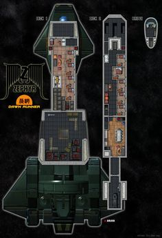 A Serenity Universe Transport ship. Zephyr Class. Dawn Runner Deck Plans Model made in Doga, Plans and logos made in photoshop. Be sure to view full size, there's lotsa little things in there.