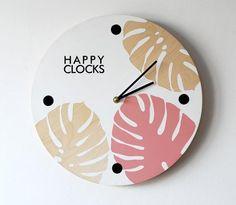 Cute Clock, Diy Clock, Clock Decor, Clock Art, Wall Decor, Pink Wall Clocks, Wood Clocks, Modern Chic Decor, Clock Painting