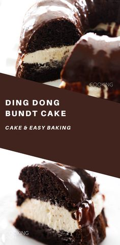 This Ding Dong Bundt Cake is unbelievably amazing! The chocolate cake is extremely moist and the cream filling is completely made from scratch and tastes incredible. It is topped with a rich chocolate ganache. This cake will become a new staple. Just Desserts, Delicious Desserts, Yummy Food, Baking Desserts, Cake Baking, Healthy Cake Recipes, Sweet Recipes, Dessert Recipes, Bunt Cakes