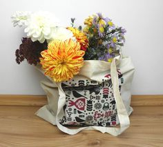 cotton tote shopping bag with folklore pattern by kapotka on Etsy
