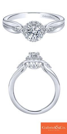 This stunning and flawless 14k White Gold Diamond Halo Engagement Ring by Gabriel & Co. is to die for. This simple but amazing engagement ring has such beautiful details and designs. Visit our website www.gabrielny.com to find your local Gabriel retailer.