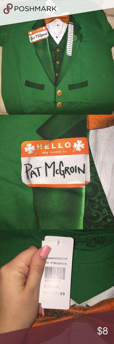 "Pat McGroin Irish Tuxedo Men's TShirt ☘️BRAND NEW WITH TAGS!!!! ""Hello my name is Pat McGroin"" Saint Patrick's Day men's green t shirt! From Spencer's! Size XXLarge☘️⭐️free gift w every order! Always open to offers!! ⭐️ Spencer's Shirts Tees - Short Sleeve"