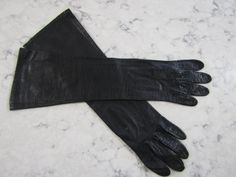 "VINTAGE 1950's 15"" French Black Kid Leather--Silk Lined Elbow Length Opera Gloves-- Size 6 1/2 --Glove Auction # 1424 by PrimaMona on Etsy"