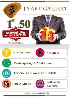▼ JS Art Gallery Gives You Online offer for 1st 50 purchases get Assured Gift.go this link http://www.jsartgallery.in/