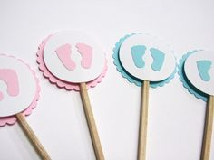 Baby Feet Baby Shower Cupcake Toppers