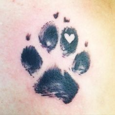 Paw print tattoo with a heart #Tattoo #PawPrintTatto #DogTattooIdeas