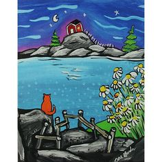 Cara Kansala One of my faves! Painted Houses, Painted Rocks, House Painting, Rock Painting, Newfoundland And Labrador, Naive Art, Painting Lessons, Acrylic Paintings, East Coast