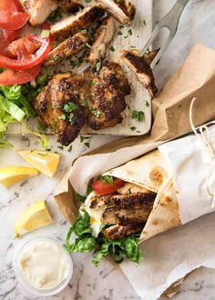 This Chicken Shawarma recipe is going to knock your socks off! Just a handful of every day spices makes an incredible Chicken Shawarma marinade that infuses the chicken with exotic Middle Eastern flavours. The smell when this is cooking is insane! Lebanese Recipes, Indian Food Recipes, Ethnic Recipes, Greek Recipes, Schawarma Rezept, Recipetin Eats, Cooking Recipes, Healthy Recipes, Cooking Food