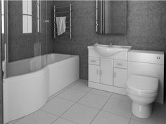 Buy the P Shape Shower Bath With Vanity Furniture Suite now for only from our cheap Modern Bathroom Suites range. More Bathroom Suites available at great prices, all with fast shipping. Jacuzzi Bathroom, Bathtub, Washroom, Small Bathroom Suites, Family Bathroom, Beach Bathrooms, Toilet Sink, New Toilet, Living Room