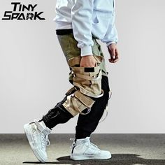 3893f172881 Hip Hop Cargo Pant Streetwear Men Baggy Harem Pant Patchwork Multi Pocket  Trousers Casual Tatical Pant Swag Ribbon Harajuku 2018 Price  68.77   FREE  ...
