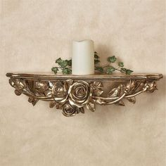 Graceful notes of a Rose Melody flit about your decor from this lovely floral wall shelf. This accent features a Venetian gold finish and a rose swag. Wall Shelf Decor, Wall Shelves, Bathroom Remodel Pictures, Wood Carving Designs, Organiser Box, Floral Wall, White Decor, Inspired Homes, Candle Sconces