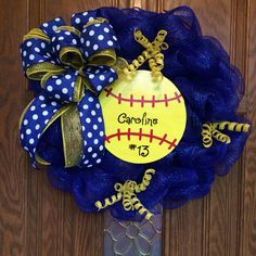 Softball wreath blue n gold