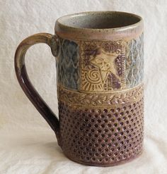 ceramic star mug stoneware by desertNOVA on Etsy click now for info. Stoneware Mugs, Ceramic Cups, Earthenware, Pottery Mugs, Ceramic Pottery, Pottery Ideas, Clay Mugs, Hand Built Pottery, Expressive Art
