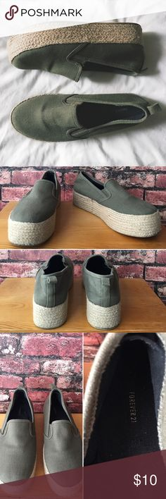 Forever 21 Canvas Platforms Olive green canvas shoes with tan woven platforms. Gently worn, in good condition.  Platform 1 1/2in Forever 21 Shoes Platforms