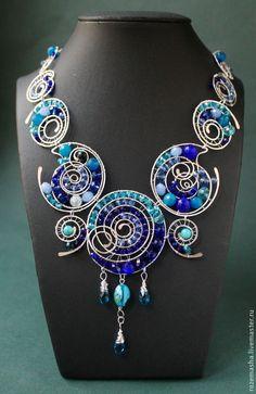 Купить Колье Круги На Полях (синий вариант) - серебряный, голубой, серебристое, посеребрение