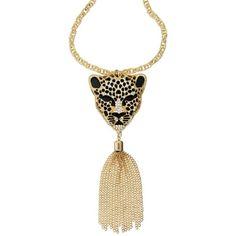Thalia Sodi Gold-Tone Animal Head Tassle Pendant Necklace (81 BRL) ❤ liked on Polyvore featuring jewelry, necklaces, gold, tassel necklace, leopard print jewelry, animal jewelry, leopard jewelry and leopard necklace