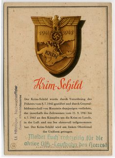"German WW2 ""Crimea Shield,"" medal for fighting in the Crimea"