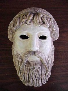 ANCIENT GREEK THEATRICAL MASK OF GOD ZEUS - UNIQUE