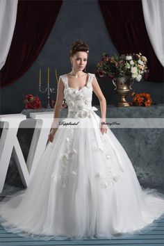 Wholesale Satin Sweetheart  A Line Applique Flowers Beading Floor length Train Wedding Dress  Custom made Plus size  WD68283