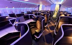 Nice Virgin Australia launches its schmick new business class cabin Virgin Australia's new Boeing business class cabin. Image: virgin Australia By Johnny UTC Most travellers will. Business Class, Business Travel, Aircraft Interiors, Kabine, Boeing 777, Jet Lag, Australia, Cabin Design, British Airways