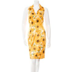 Dolce & Gabbana Sunflower Print Dress ($295) ❤ liked on Polyvore featuring dresses, yellow, multi colored dress, yellow halter dress, mixed print dress, yellow dress and pattern dress