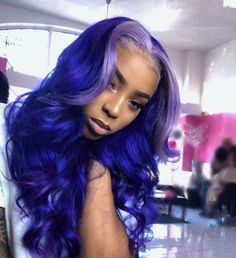 Full lace wig purple color with gray root wave long human hair wigs – Colored Contacts Bloğ My Hairstyle, Wig Hairstyles, Colored Weave Hairstyles, Curly Hair Styles, Natural Hair Styles, Hair Styles With Weave, Colored Wigs, Colored Hair, Birthday Hair