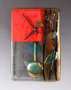 Red Bamboo Pendulum Clock: Nina Cambron: Art Glass Clock | Artful Home
