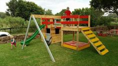 pallet jungle gym. No instructions, but I think I could do the ladder and first structure