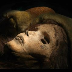 """""""The Beauty of Xiaohe,"""" female mummy, ca 1800—1500 B.C. Excavated from Xiaohe (Little River) Cemetery 5, Charqilik (Ruoqiang) County, Xinjiang Uyghur Autonomous Region, China."""