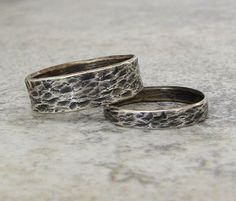 Silver Wedding Bands Distressed Bark Wedding Rings by SilverSmack