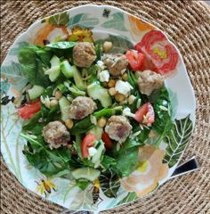 Spinach Orzo Salad with Chicken Meatballs and Chickpeas - even the men in your life will love eating this salad!  Get the recipe on RachelCooks.com