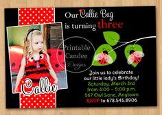 Polka Dot Ladybug Birthday Invitation  Custom by printablecandee, $10.00