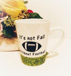 Football Coffee Mug Glitter Dipped Mug Fall Coffee Cup