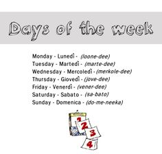 Days of the week in Italian from http://nativeitalian.tumblr.com