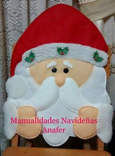 Manualidades Anafer: Cubresillas Navideños Christmas Chair, Christmas Sewing, Christmas Pillow, Christmas 2017, Christmas Projects, Christmas Stockings, Xmas, Christmas Decorations, Christmas Ornaments