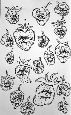 Indie Drawings, Cool Art Drawings, Art Drawings Sketches, Pretty Art, Cute Art, Arte Sketchbook, Indie Art, Funky Art, Art Hoe