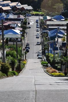 Baldwin Street in Dunedin, New Zealand, is the steepest street in the world. At an angle of 19°, the 350m road rises 70m in it's length. A good leg workout!