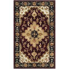 Safavieh Handmade Heritage Traditional Tabriz Red/ Black Wool Rug (5' x 8')