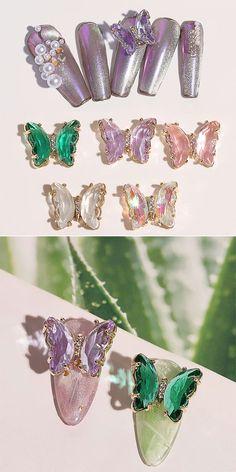 DIY Aurora Colorful Three-Dimensional Butterfly Nail Art Jewelry Crystal Butterfly Decoration Butterfly Nail Art, Nail Decorations, Three Dimensional, Aurora, Advertising, Girly, Colorful, Crystals, Nails
