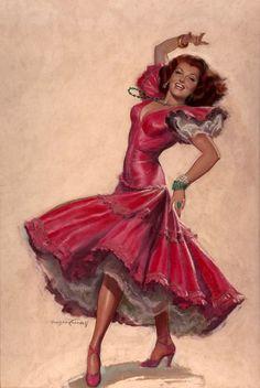 View Rita Hayworth, The Loves of Carmen by Bradshaw Crandell on artnet. Browse upcoming and past auction lots by Bradshaw Crandell. Pin Up Girl Vintage, Photo Vintage, Vintage Images, Vintage Art, Vintage Ladies, Pinup Art, Rita Hayward, Calendar Girls, Retro Art