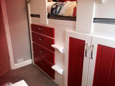 Childrens four drawer cabin bed in white and Ferrari red. Guaranteed for 20 years and made to order. Only manufactured by Aspenn Furniture - a Yorkshire based company. No MDF is used in the furniture, only natural pine and solid oak.  Check out www.aspennfurniture.co.uk to see more of the children cabin bed range. 01937 843386 or email ianaspenn@btinternet.com Childrens Cabin Beds, Cabin Beds For Kids, King Bedding Sets, Luxury Bedding Sets, Natural Bedding, Cozy Bed, Solid Oak, King Size, Drawers