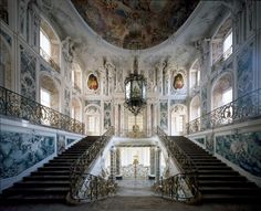 GERMAN ROCOCO; Germany- Interiors decoration of Schloss Brühl, North Rhine- Westphalia, Germany, 1728, by François de Cuvilliés (1695, Hainaut — 1768, Munich). The palaces were built at the beginning of the 18th century by Johann Conrad Schlaun. The main block Augustusburg Palace is a U-shaped building with three main storeys and two levels of attics. The magnificent staircase was designed by Johann Balthasar Neumann. The French Rococo interiors decoration, made by Cuvilliés.