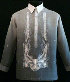 Monochromatic Dark Gray Barong Tagalog - Barongs R us Barong Tagalog, Filipiniana Dress, Philippines Fashion, Line Shopping, Grey Outfit, Wedding Day, Suits, Dark, Stylish