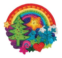Christmas Rainbow -  A colourful Christmas card from an original hand stitched felt illustration.