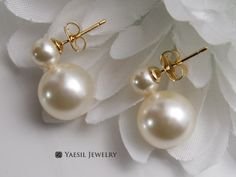 Your place to buy and sell all things handmade Double Pearl Earrings, Wedding Earrings, Pearls, Cream, Sterling Silver, Trending Outfits, Unique Jewelry, Handmade Gifts, Snowman